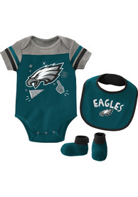Philadelphia Eagles Baby Tackle One Piece with Bib - Midnight Green