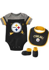 Pittsburgh Steelers Baby Tackle One Piece with Bib - Black