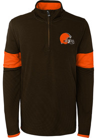 Cleveland Browns Youth Yard Line Quarter Zip - Brown