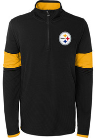 Pittsburgh Steelers Youth Yard Line Quarter Zip - Black
