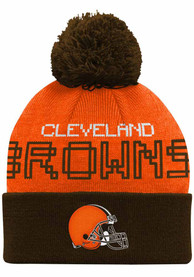 Cleveland Browns Baby Pixel Cuffed Pom Knit Hat - Brown