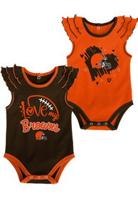 Cleveland Browns Baby All Love 2PK One Piece - Orange