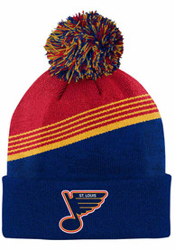St Louis Blues Youth Special Edition Diagonal Stripe Pom Knit Hat - Red