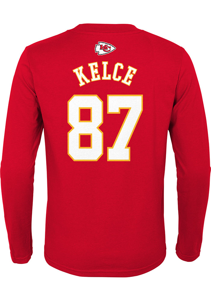 Travis Kelce Outer Stuff Kansas City Chiefs Youth Red Player Long Sleeve T-Shirt - Image 1