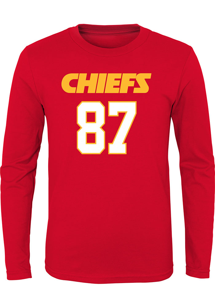 Travis Kelce Outer Stuff Kansas City Chiefs Youth Red Player Long Sleeve T-Shirt - Image 2