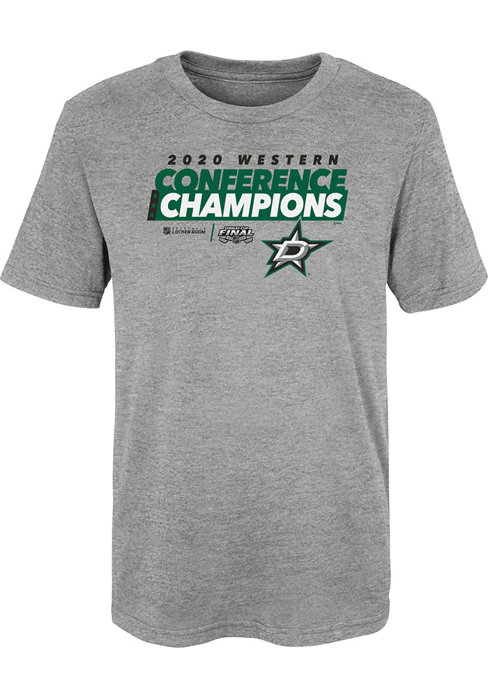 Dallas Stars Boys Grey 2020 NHL Conference Champs Locker Room Short Sleeve T-Shirt - Image 1