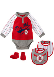 St Louis Cardinals Baby Is It Game Time Yet One Piece with Bib - Red