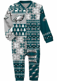 Philadelphia Eagles Baby Ugly Sweater One Piece Pajamas - Midnight Green