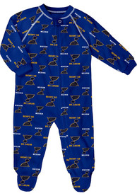 St Louis Blues Baby All Over One Piece Pajamas - Blue