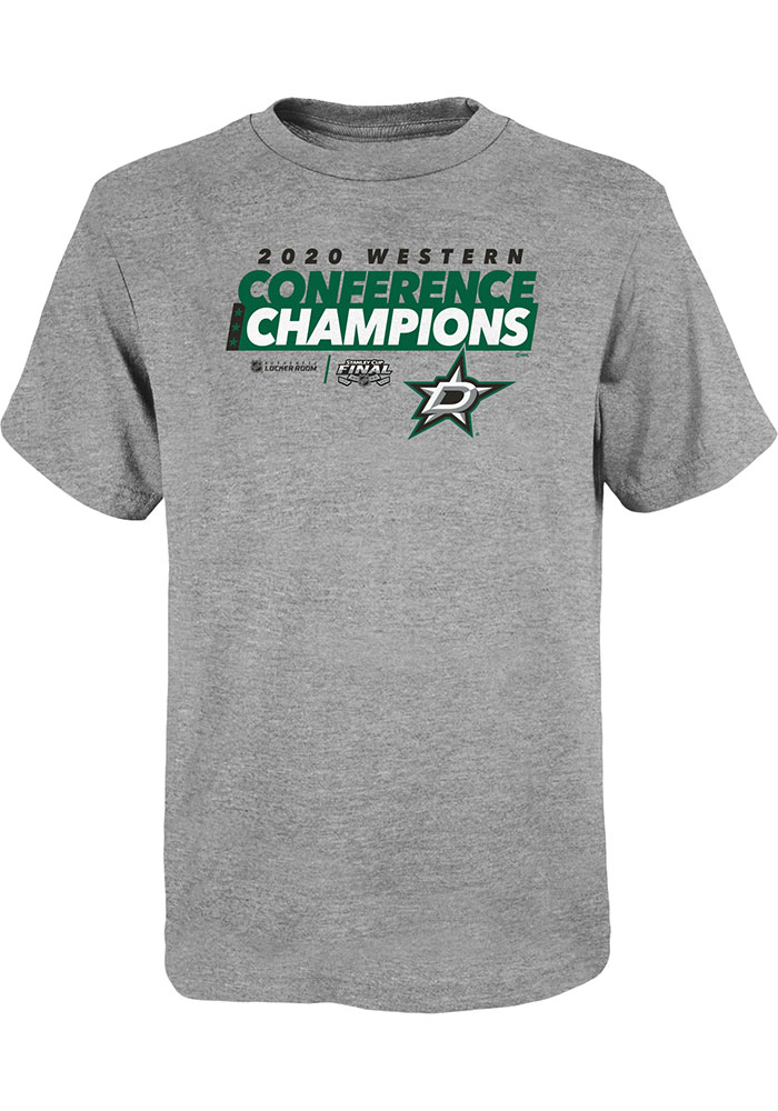 Dallas Stars Youth Grey 2020 NHL Conference Champs Locker Room Short Sleeve T-Shirt - Image 1