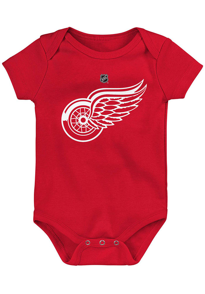 Detroit Red Wings Baby Red Primary Logo Short Sleeve One Piece - Image 1