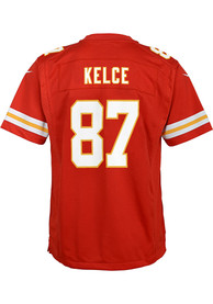Travis Kelce Kansas City Chiefs Youth Nike Super Bowl LV Patch Football Jersey - Red