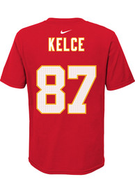 Travis Kelce Kansas City Chiefs Youth Super Bowl LV Part Name and Number T-Shirt - Red