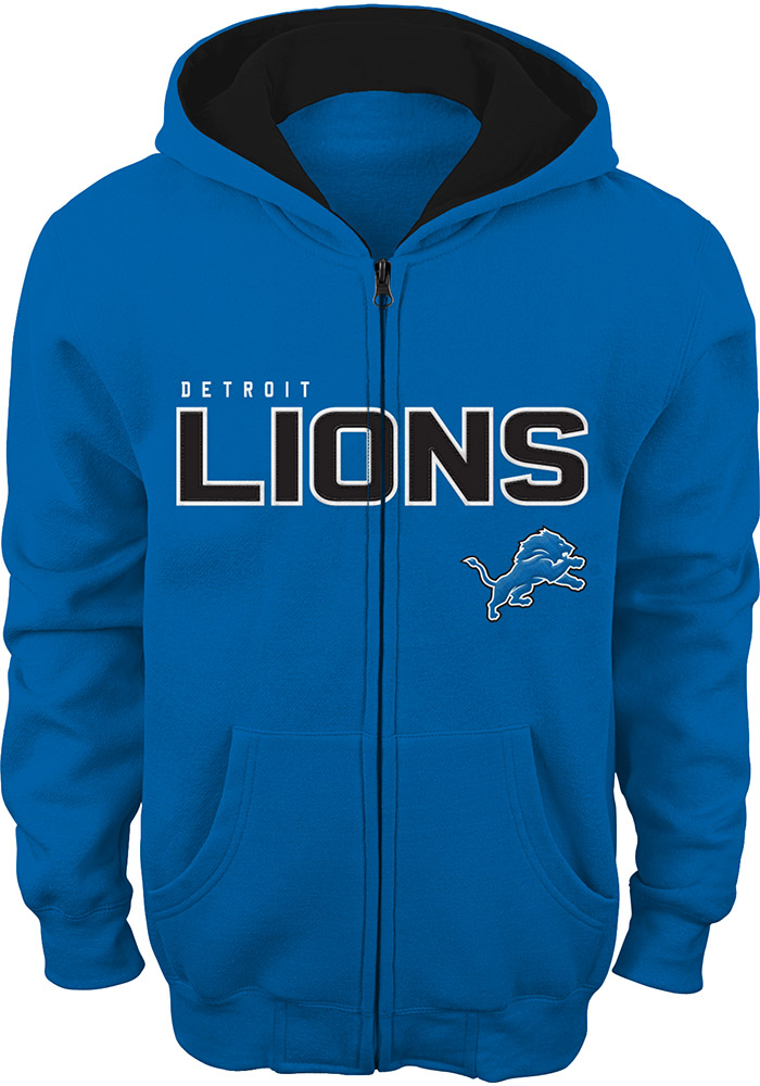 Detroit Lions Youth Grey Stated Fleece Long Sleeve Full Zip Jacket - Image 1