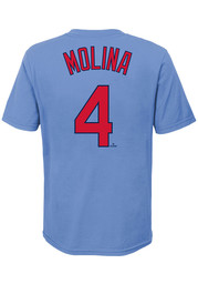 Yadier Molina St Louis Cardinals Youth Name and Number T-Shirt - Light Blue