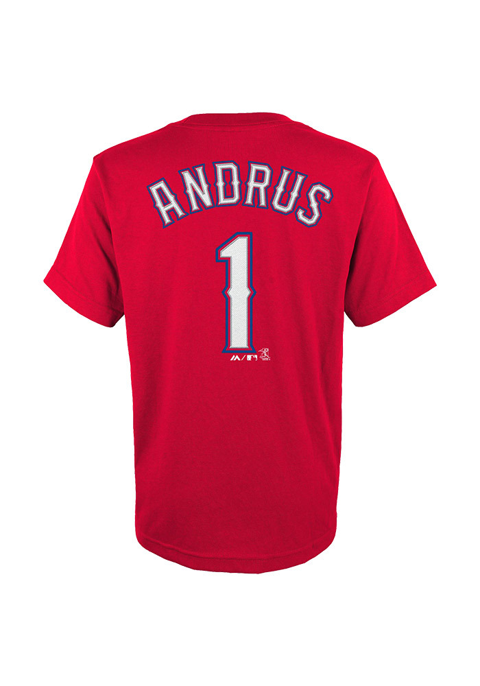 Elvis Andrus Texas Rangers Youth Red Andrus Player Tee - Image 1