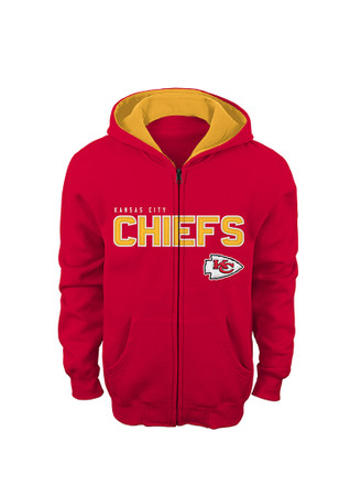 KC Chiefs Kids Red Youth Stated Fleece Full Zip Jacket