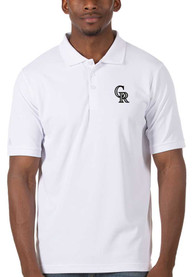 Colorado Rockies Antigua Legacy Pique Polo Shirt - White