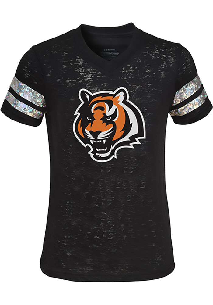 Cincinnati Bengals Girls Black Opal Burnout Short Sleeve Fashion T-Shirt - Image 1
