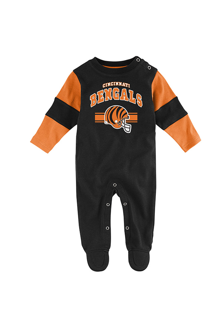 Cincinnati Bengals Baby Newborn Team Believer Coverall Black Newborn Team Believer Coverall One Piece Pajamas