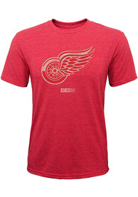 Detroit Red Wings Kids Red Youth Bigger Logo Tri-Blend Fashion Tee
