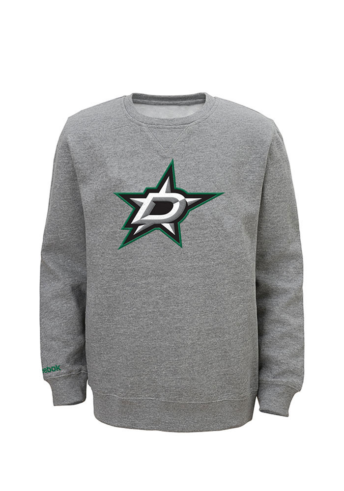 Dallas Stars Youth Grey Youth Prime Long Sleeve Crew Sweatshirt - Image 1