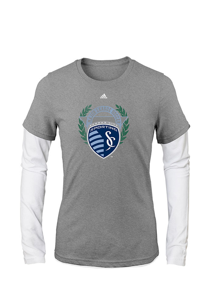 Sporting Kansas City Girls Grey Reef Crest Long Sleeve T-shirt - Image 1