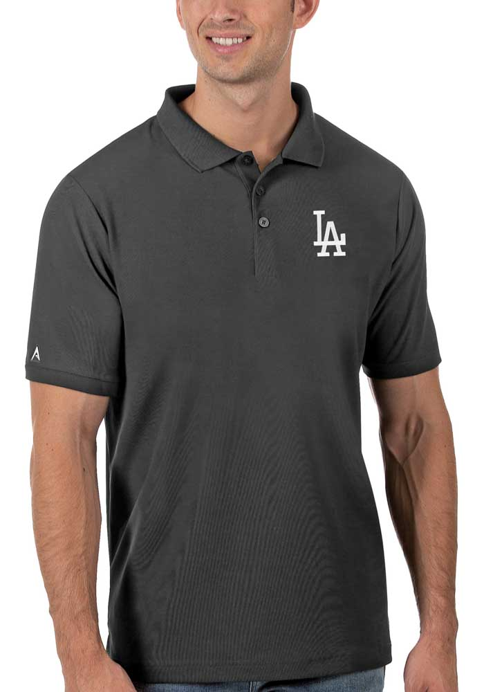 Antigua Los Angeles Dodgers Mens Grey Legacy Pique Short Sleeve Polo - Image 1