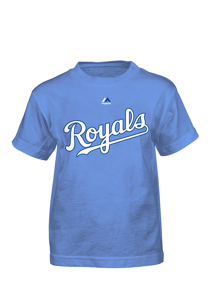 Lorenzo Cain Kansas City Royals Boys Blue Player Tee Short Sleeve T-Shirt - Image 2