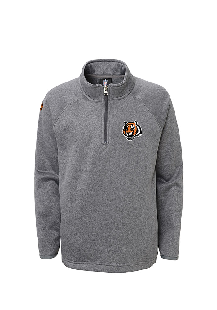 Cincinnati Bengals Kids Grey Performance Long Sleeve Quarter Zip Shirt - Image 1