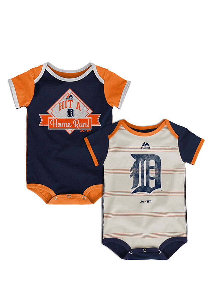 Detroit Tigers Baby Navy Blue Good Ol Baseball One Piece - Image 1