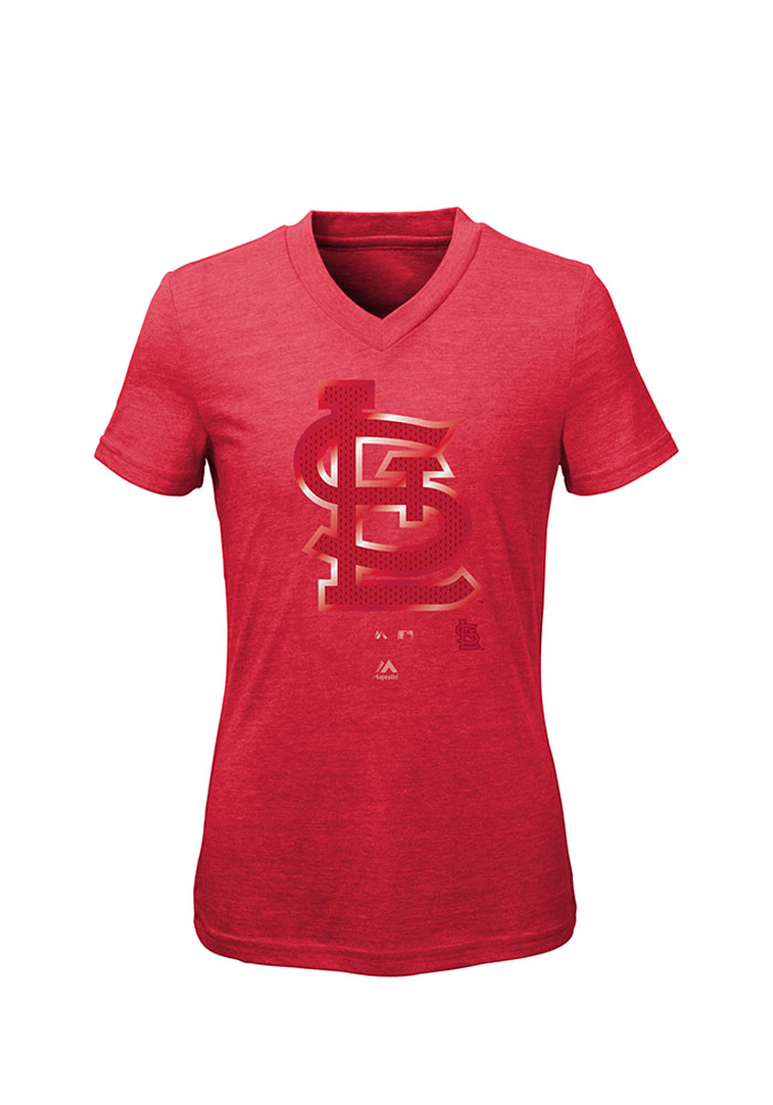 St Louis Cardinals Girls Red Slider Short Sleeve Fashion T-Shirt - Image 1