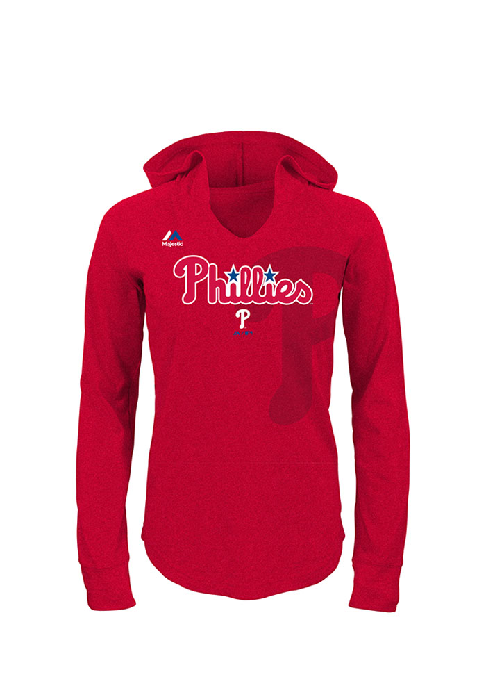 Philadelphia Phillies Girls Red Quick Pitch Long Sleeve Hooded Sweatshirt - Image 1