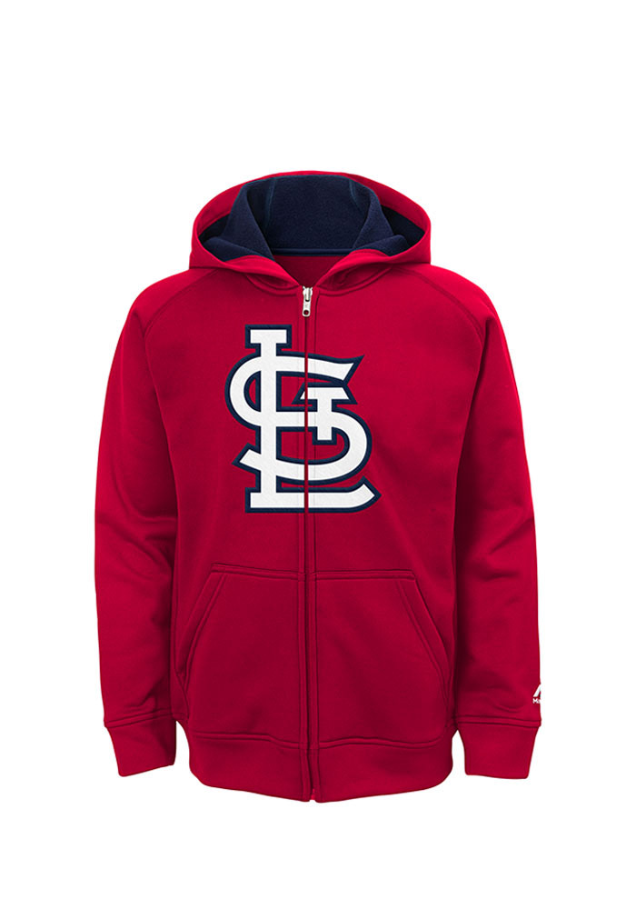 St Louis Cardinals Youth Red Logo Long Sleeve Full Zip Jacket - Image 1