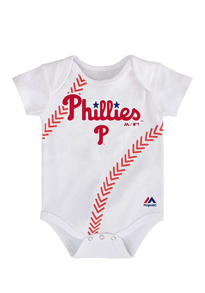 Philadelphia Phillies Baby White Stitches Short Sleeve Creeper - Image 1
