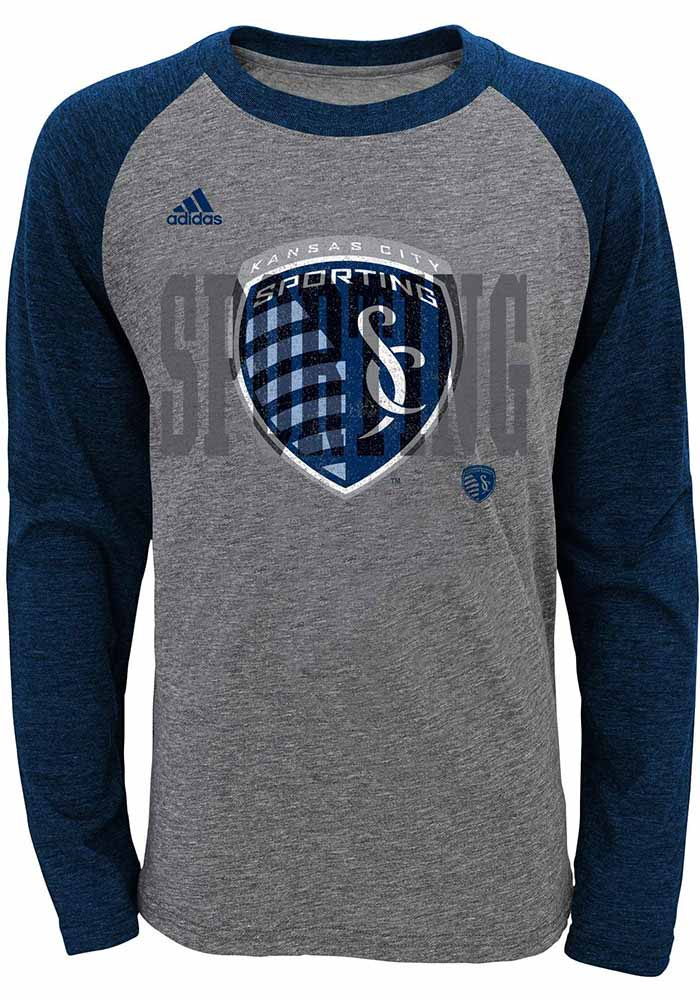 Sporting Kansas City Boys Grey Raglan Long Sleeve T-Shirt - Image 1