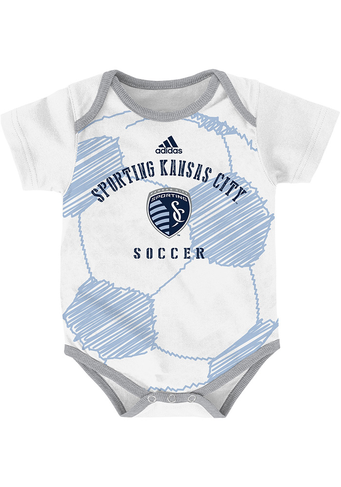 Sporting Kansas City Baby White Drop Ball Short Sleeve One Piece - Image 1