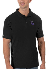 Colorado Rockies Antigua Legacy Pique Polo Shirt - Black