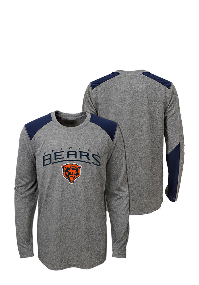 Chicago Bears Youth Grey Half Moon Long Sleeve T-Shirt - Image 1