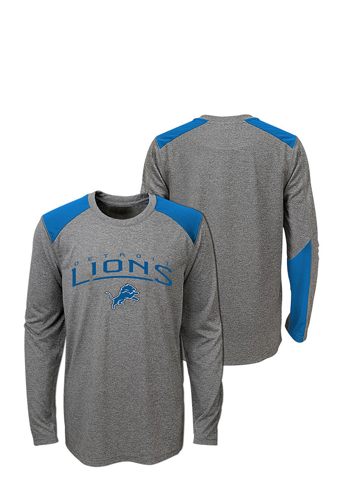 Detroit Lions Youth Grey Half Moon Long Sleeve T-Shirt - Image 1