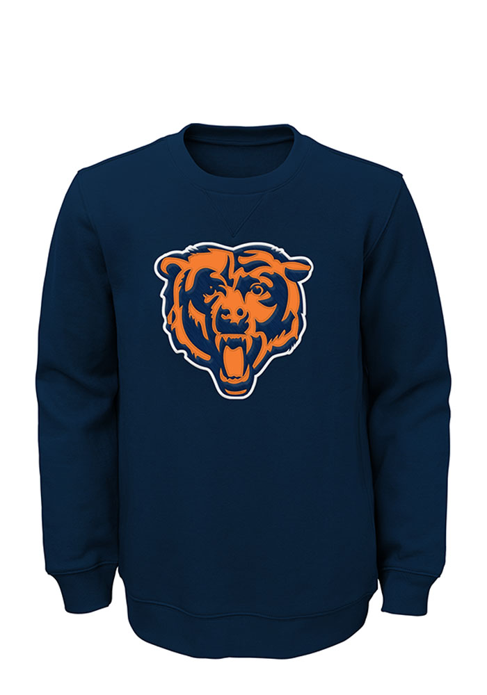 Chicago Bears Boys Navy Blue Prime Long Sleeve Crew Sweatshirt - Image 1