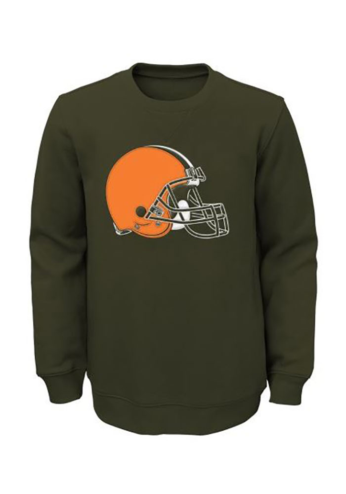 Cleveland Browns Boys Brown Prime Long Sleeve Crew Sweatshirt - Image 1