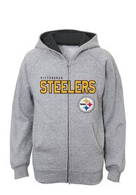 Pittsburgh Steelers Youth Grey Stated Full Zip Jacket