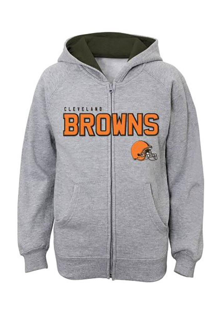 Cleveland Browns Boys Grey Stated Long Sleeve Full Zip Hooded Sweatshirt -  Image 1 2b5872fcf