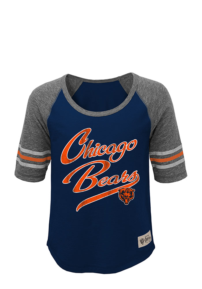 Chicago Bears Girls Navy Blue Hi-Lo Short Sleeve Tee - Image 1