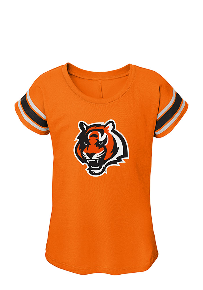 Cincinnati Bengals Girls Orange Dolman Short Sleeve Tee - Image 1
