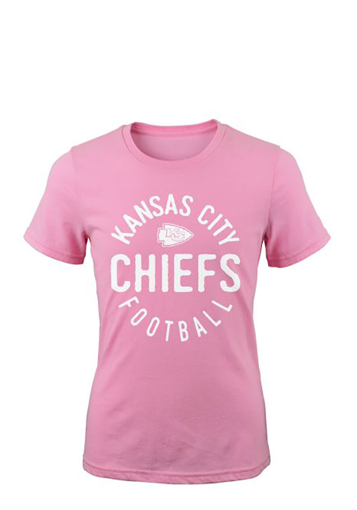 Kansas City Chiefs Girls Pink Full Circle Short Sleeve Tee - Image 1