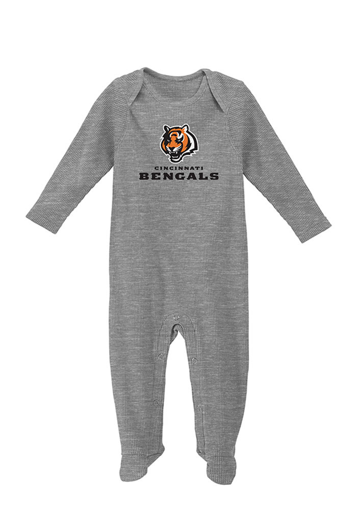 Cincinnati Bengals Baby Grey Big Fan Long Sleeve Creeper - Image 1