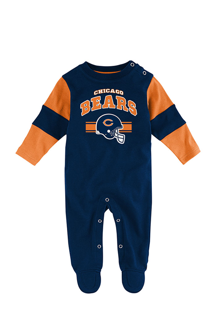 Chicago Bears Baby Navy Blue Jumper Long Sleeve Creeper - Image 1