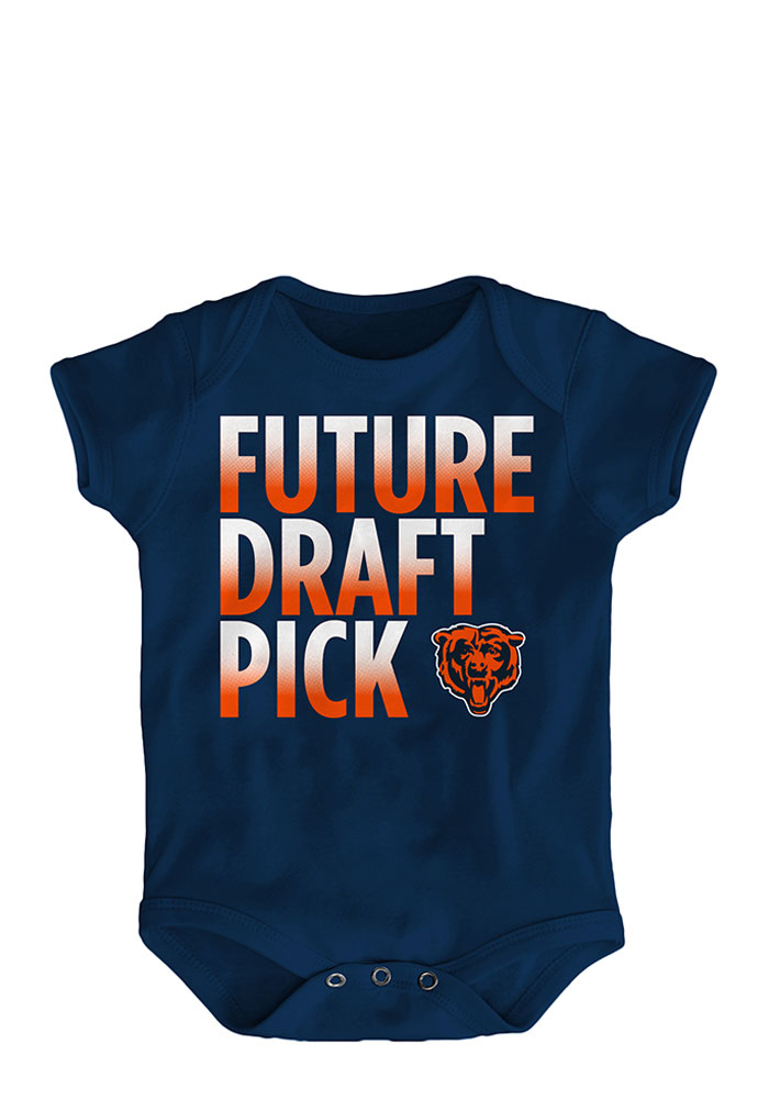 Chicago Bears Baby Navy Blue Future Draft Pick Short Sleeve One Piece - Image 1